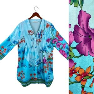 Soft Surroundings floral long sleeve tunic blouse